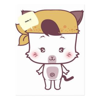 Versión linda 1 del dibujo animado del gato postales