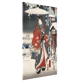 Versión moderna del cuento de Genji en escena de l Lienzo Envuelto Para Galerías