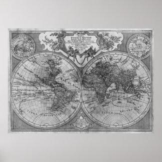 Versión negra y blanca del mapa del mundo de póster