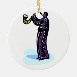 Versión púrpura estilizada del jugador de saxofón adorno redondo de cerámica