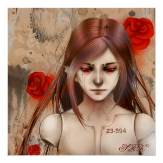Versión roja 24X24 de la belleza sintética Posters