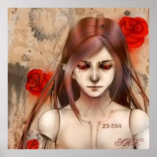 Versión roja 24X24 de la belleza sintética Póster