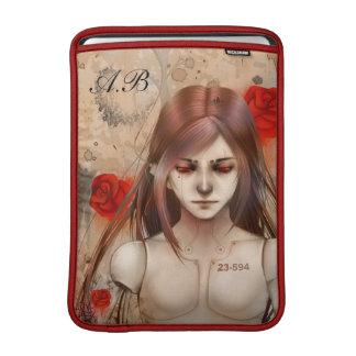 Versión roja de la belleza sintética con el monogr funda para macbook air