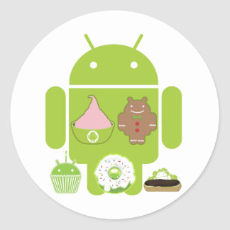 Versiones androides pegatina redonda