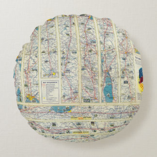Verso American Airlines system map Round Pillow