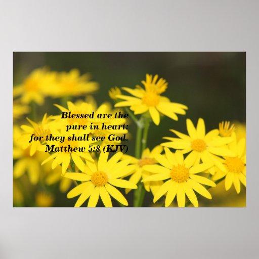 Verso bíblico del 5:8 de Matthew con las flores de Posters