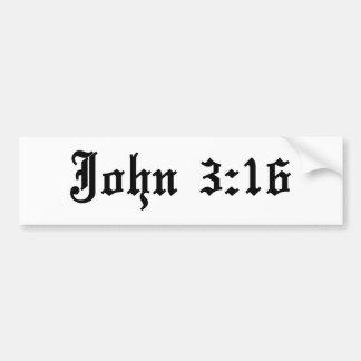 verso cristiano de la biblia del 3:16 de Juan Pegatina Para Auto