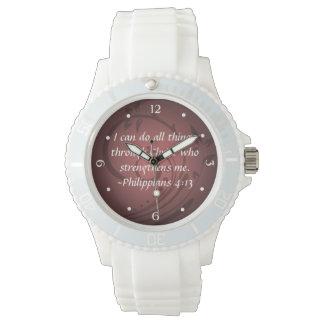 Verso cristiano de la biblia del 4:13 de los relojes de pulsera