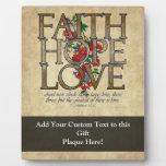 Verso cristiano de la biblia del amor de la espera placas