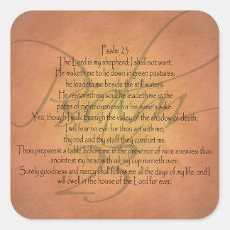 Verso cristiano de la biblia del salmo 23 KJV Pegatina Cuadrada