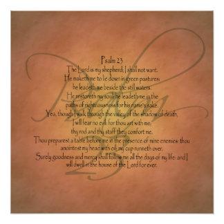 Verso cristiano de la biblia del salmo 23 KJV Perfect Poster