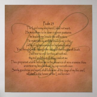 Verso cristiano de la biblia del salmo 23 KJV Póster