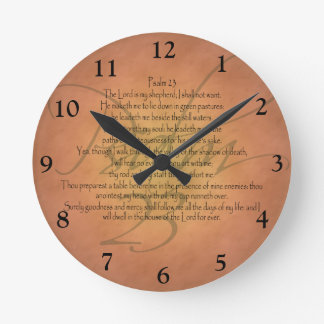 Verso cristiano de la biblia del salmo 23 KJV Reloj Redondo Mediano