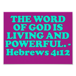 Verso de la biblia a partir del 4:12 de los hebreo póster