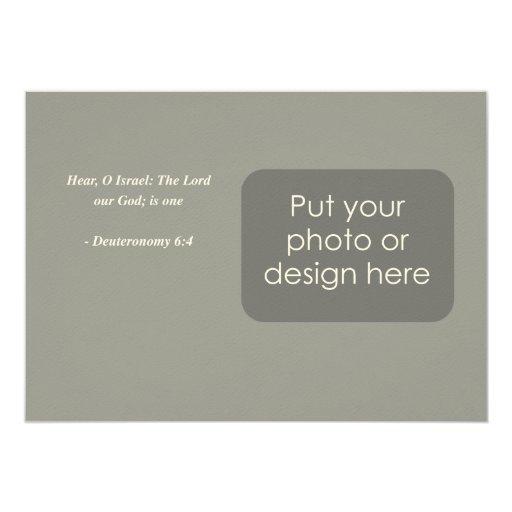 Verso de la biblia de DEUTERONOMY 6-4 Invitaciones Personalizada