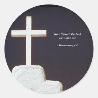 Verso de la biblia de DEUTERONOMY 6-4 Etiqueta Redonda