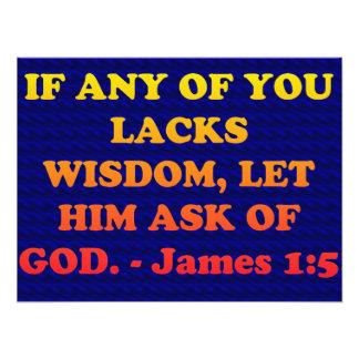 Verso de la biblia de James 1: 5. Cojinete
