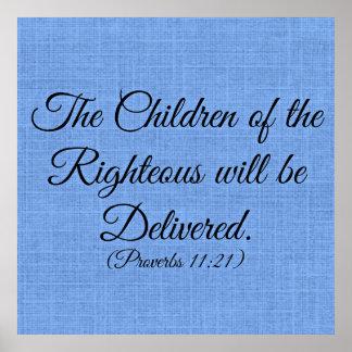 Verso de la biblia de los proverbios los niños del poster