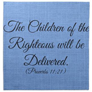 Verso de la biblia de los proverbios los niños del servilletas de papel