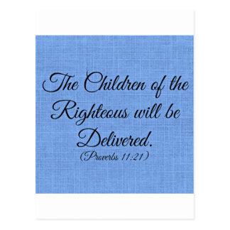 Verso de la biblia de los proverbios los niños del tarjetas postales