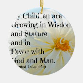 Verso de la biblia de Lucas que mis niños están Adorno Navideño Redondo De Cerámica