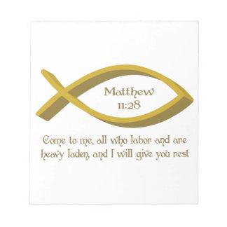 VERSO DE LA BIBLIA DE MATTHEW BLOCS DE NOTAS