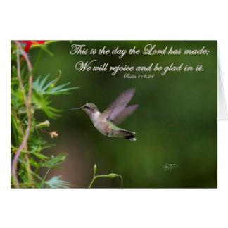 Verso de la biblia del 118:24 del salmo del tarjeta pequeña