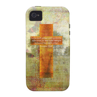 Verso de la biblia del 12:10 de los romanos sobre vibe iPhone 4 carcasas