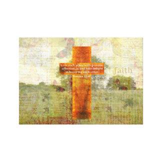 Verso de la biblia del 12:10 de los romanos sobre impresiones en lona estiradas