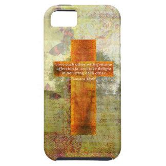 Verso de la biblia del 12:10 de los romanos sobre iPhone 5 carcasa