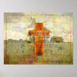 Verso de la biblia del 12:10 de los romanos sobre póster