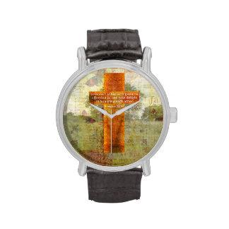 Verso de la biblia del 12:10 de los romanos sobre relojes de pulsera