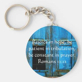 Verso de la biblia del 12:12 de los romanos sobre llavero redondo tipo pin