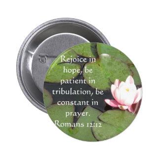 Verso de la biblia del 12:12 de los romanos sobre  pin