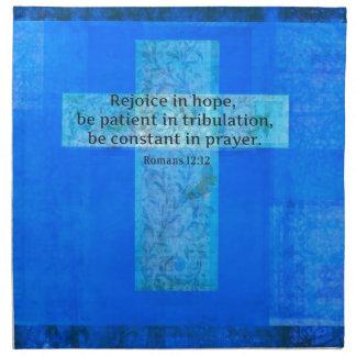 VERSO de la BIBLIA del 12:12 de los romanos sobre  Servilleta Imprimida