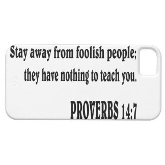 Verso de la biblia del 14:7 de los PROVERBIOS iPhone 5 Fundas