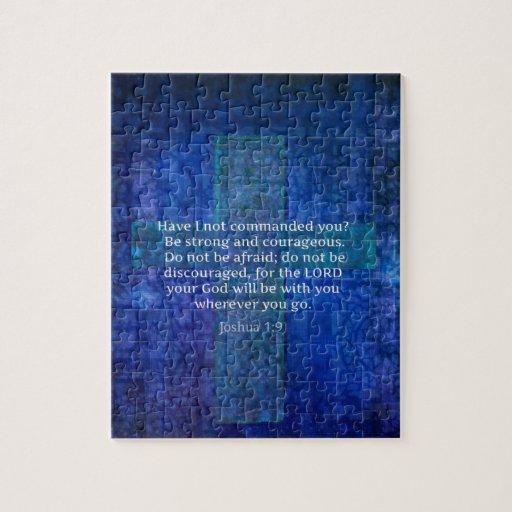 Verso de la biblia del 1:9 de Joshua sobre fuerza Rompecabezas Con Fotos