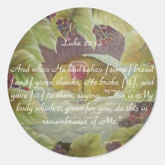 Verso de la biblia del 22:19 de Lucas Pegatina Redonda