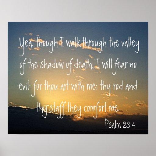 Verso de la biblia del 23:4 del salmo para la prot póster