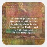 Verso de la biblia del 28:19 de Matthew Calcomanía Cuadrada Personalizada