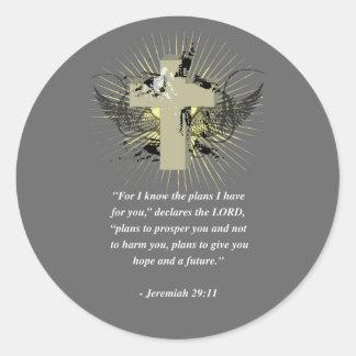 Verso de la biblia del 29 11 de JEREMIAH Etiquetas Redondas