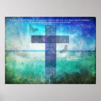 Verso de la biblia del 3:16 de Juan con arte crist Póster