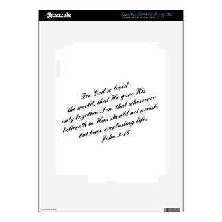 Verso de la biblia del 3:16 de Juan (KJV) iPad 3 Pegatina Skin