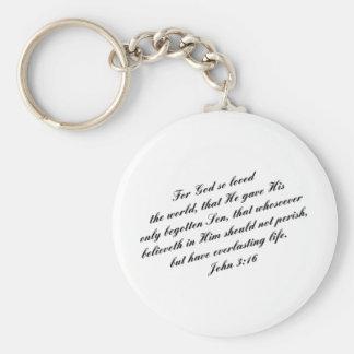 Verso de la biblia del 3:16 de Juan (KJV) Llavero Redondo Tipo Pin