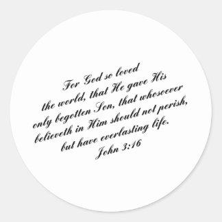 Verso de la biblia del 3:16 de Juan (KJV) Pegatina Redonda