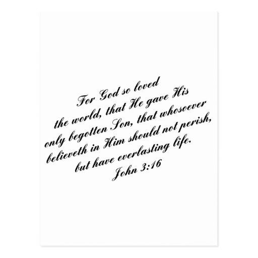 Verso de la biblia del 3:16 de Juan (KJV) Postal