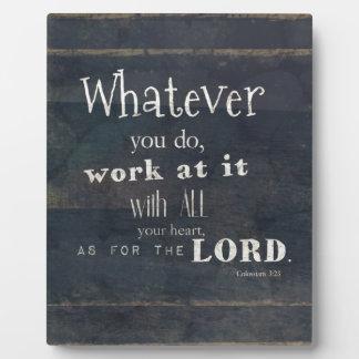 Verso de la biblia del 3:23 de Colossians, arte de Placas Con Foto