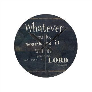 Verso de la biblia del 3:23 de Colossians, arte de Relojes De Pared
