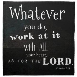 Verso de la biblia del 3 23 de Colossians arte de Servilleta