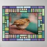 Verso de la biblia del 41:10 de Isaías con el vitr Poster